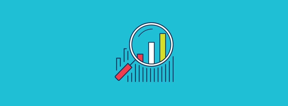 Statistics magnifying glass icon